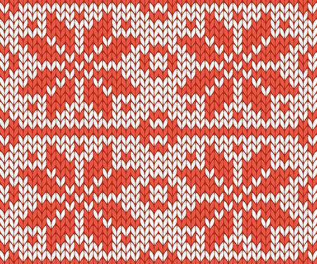 punto de cruz: Estilo nórdico e inspirado en el patrón de Navidad de punto de cruz escandinavo en la ilustración de vector de rojo y blanco