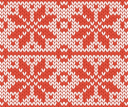 Nordic style and inspired by Scandinavian cross stitch craft Christmas pattern in red and white vector illustration