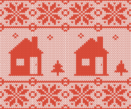 Nordic style and inspired by Scandinavian cross stitch craft Christmas pattern in red and white including winter wonderland village, church, Christmas tree and more.