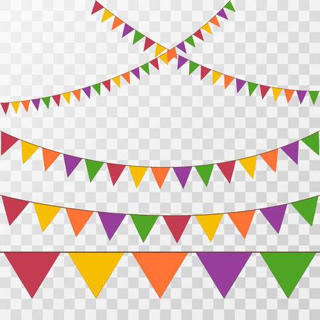 Vector set of decorative party pennants with different sizes and lengths. Celebrate flags. Rainbow garland. Birthday decoration. Hanging colored flags Illustration