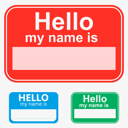 Red, green, blue, set Hello my name is label sticker Иллюстрация