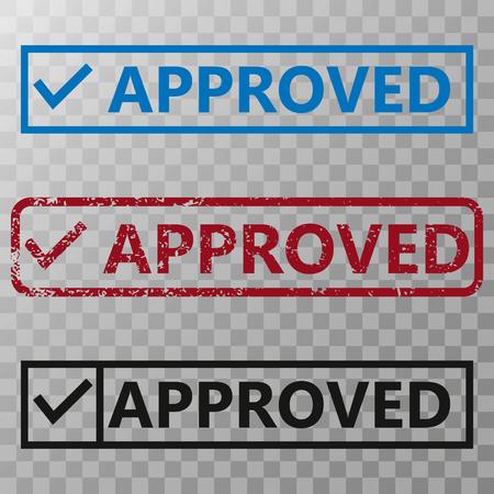 Approved Stamp Vector illustration set on transparent background.