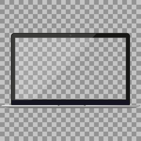 Computer portatile in Macbook Air stile mockup con schermo vuoto - vista frontale. Apra il computer portatile con schermo vuoto isolato su priorità bassa bianca. Vista frontale portatile argento. Notebook.Laptop - illustrazione vettoriale.