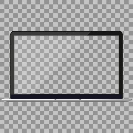 Ordinateur portable dans la maquette de style Macbook Air avec écran blanc - vue de face. Ordinateur portable ouvert avec écran blanc isolé sur fond blanc. Vue avant de l'ordinateur portable argent. Notebook.Laptop - illustration vectorielle.