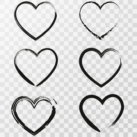 Set of six hand drawn heart. Handdrawn rough marker hearts isolated on transparent background. Vector illustration for your graphic design