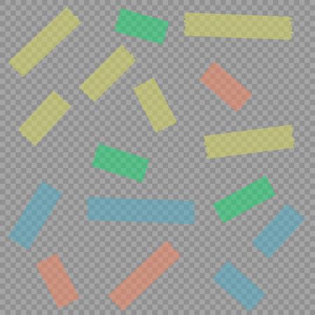 Cintas adhesivas pegajosas adhesivas de papel de la tira del escocés en el fondo del aislante, ejemplo EPS10 del vector.