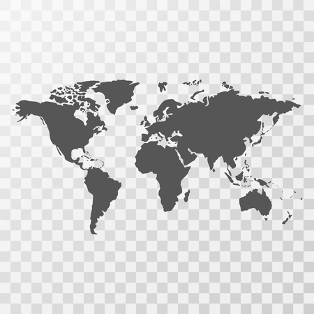 World map on transparent background Illustration