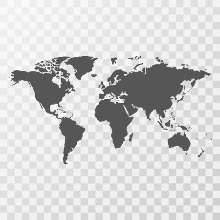 Wereldkaart op transparante achtergrond
