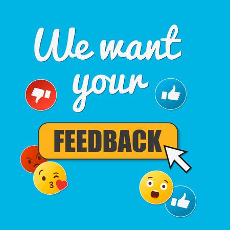 Wij willen uw feedback. Badge, stempel met blije en ongelukkige gezichten pictogrammen. Platte vectorillustratie op blauwe achtergrond