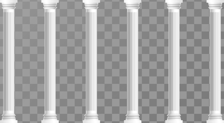 Classic antique white columns in vector graphics Illustration