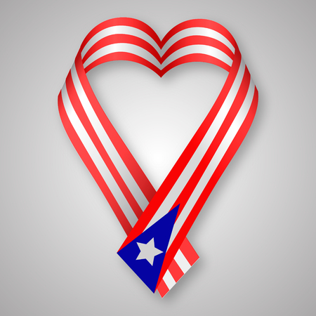 Puerto Rican flag with blue ribbon forming a heart shape. Pray for Puerto Rico Illustration