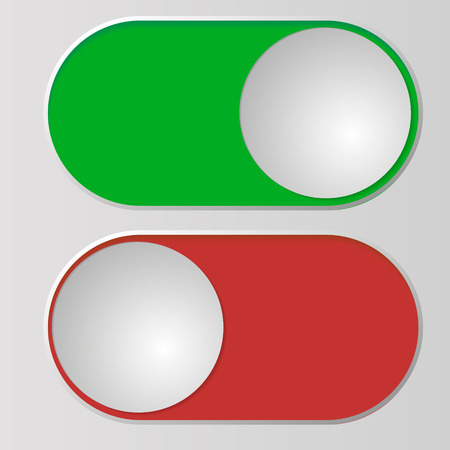 Flat icon On and Off Toggle switch button vector format. Vettoriali