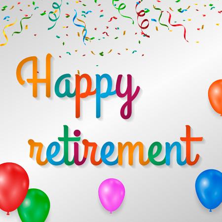 Szczęśliwy emerytura kolorowy z fajerwerkami na białym tle. Ilustracje wektorowe