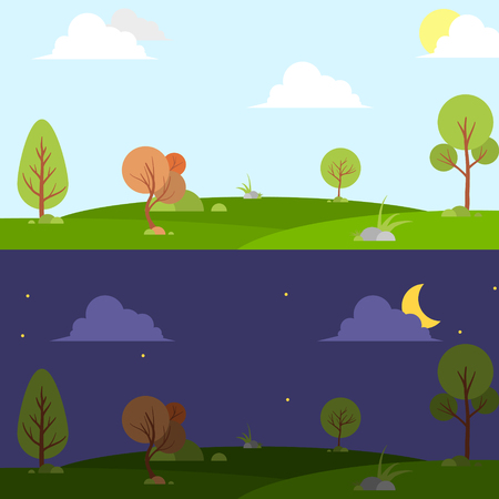Day and night landscape illustration with sun,moon,hills,star,clouds,weather app,user interface design. 일러스트