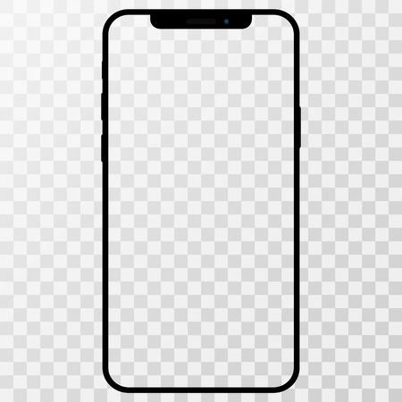 Makieta telefonu, telefonu komórkowego, smartfona na białym tle na białym tle z pustym ekranem.