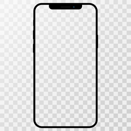 Phone, mobile, smartphone mockup isolated on white background with blank screen.