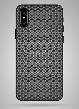 Vector carbon back cover smartphone vector illustration.