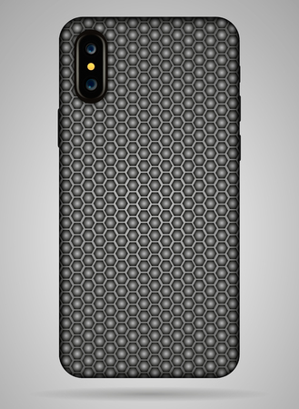 Vector carbon back cover smartphone vector illustration.