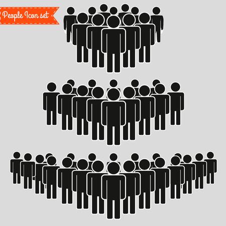 Icona della gente impostata in stile piatto alla moda isolato su priorità bassa. Segni di folla. Simbolo di persone per la progettazione del tuo sito Web infografica, icona, app, interfaccia utente. Illustrazione vettoriale