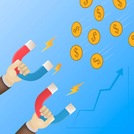 Money attraction flat isometric low poly vector concept. Businessman is holding big magnets witch let him to attract coins. Investment, profit, income Ilustração