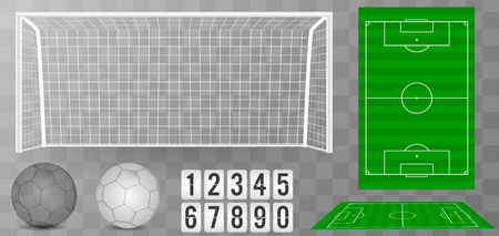 Football goal with shadow isolated on a transparent background. Football field or soccer field background. Vector green court for create game. Stock Illustratie
