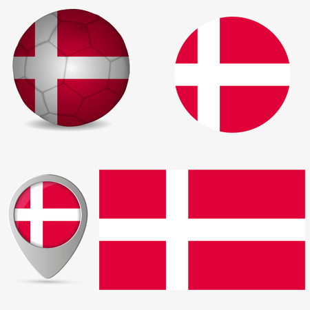 Denmark flag, official colors and proportion correctly. National Denmark flag. Vector illustration