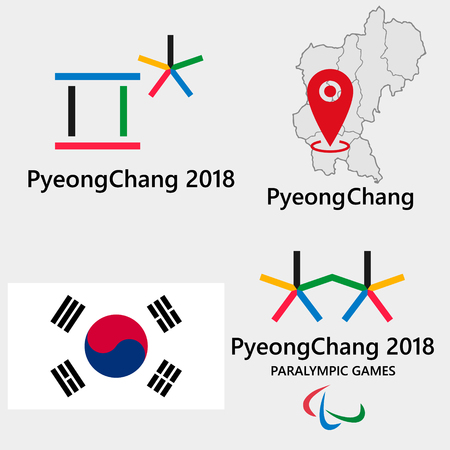 Concept icon of South Koreas PyeongChang 2018  イラスト・ベクター素材