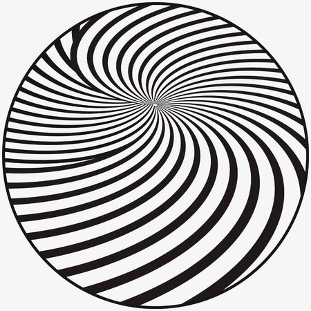 Abstract black and white background. Geometric pattern with visual distortion effect. Illusion of rotation. Illustration