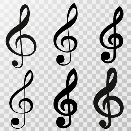 treble clef icon set isolated on a transparent background