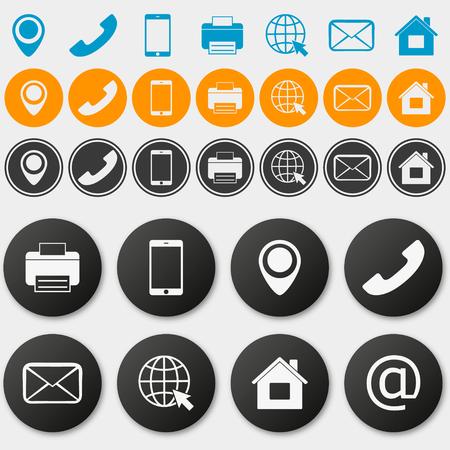 Wektor wizytówki informacje kontaktowe ikony Ilustracje wektorowe