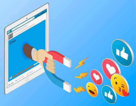 El poderoso marketing de influencers es como el campo magnético que arrastra al cliente como un icono al negocio Ilustración de vector