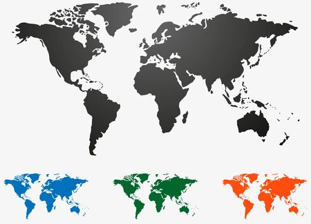 world map set isolated on white Vector illustration.