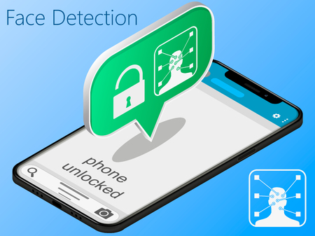 Mobile phone is unlocked using face identification vector, concept of smartphone security, personal access, user authorization, login, protection technology Иллюстрация