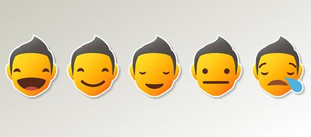 Set of Emoji Colored Flat Icons. Vector Set of Emoticons. Illustration