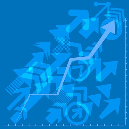 Success arrows, vector financial arrow graphs. Arrows directed diagonally up business concept. Иллюстрация