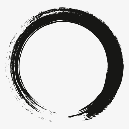 Painting enso zen circle brush vector illustration.