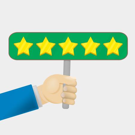 Klantbeoordeling geeft een vijf sterren. Positief feedbackconcept. Vector illustratie Minimaal en plat ontwerp