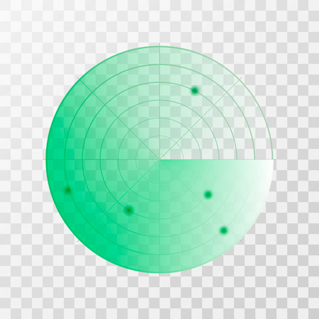 Radar screen icon. Vector illustration isolated on transparent background.