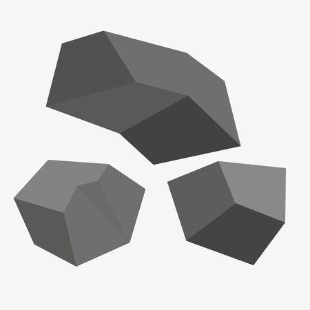 Pile of coal isolated on white background. Vector illustration. Illustration