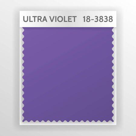 ファブリックサンプル、ウルトラバイオレット2018今年の色とインテリアデザインムードボードのためのテキスタイルテンプレート。トレンディなカ