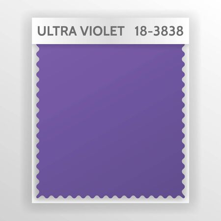 Fabric samples, textiletemplate for interior design mood board with Ultra Violet 2018 Color of the year. Trendy color palette, purple piece of fabric. Vector illustration for blog posts
