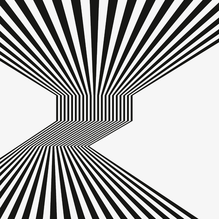 Black and white mobious wave stripe optical abstract design.