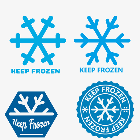 Frozen product label icons. Frozen food packaging symbol set. Keep frozen Illustration