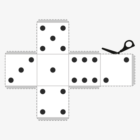 Paper Dice Template, model of a white cube to make a three-dimensional handicraft work out of it. Isolated vector illustration on white background