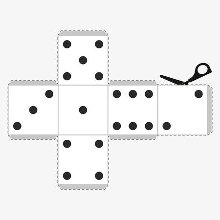 Plantilla de dados de papel, modelo de un cubo blanco para hacer que una artesanía tridimensional funcione. Ilustración de vector aislado sobre fondo blanco Ilustración de vector