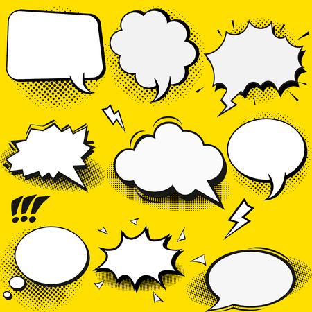 Vector set of stickers of speech bubbles. Blank empty white speech bubbles.