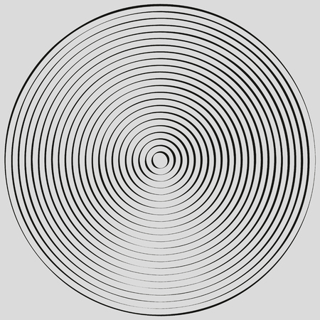 Concentric circles, concentric rings. Abstract radial graphics