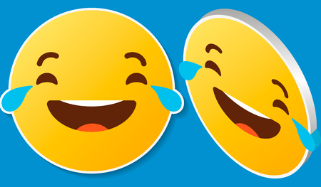 Face with tears of joy emoji on a blue background  イラスト・ベクター素材