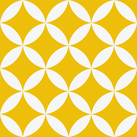 Seamless geometric texture. Stars pattern. Vector art. in yellow and white.