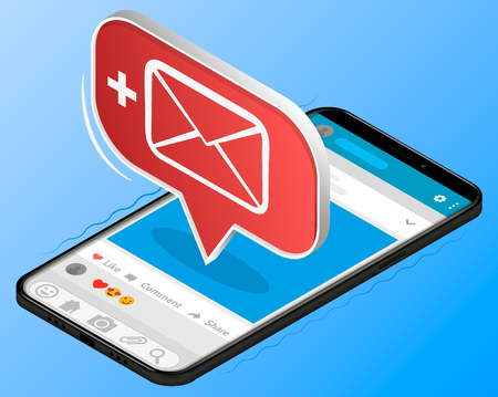 Unread email notification. New message on the smartphone screen. Vector illustration Stock Photo